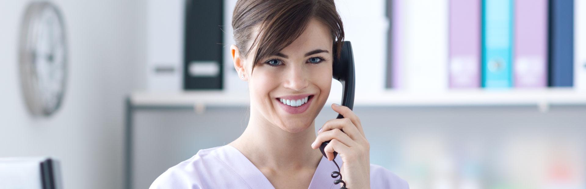Nurse answering phone