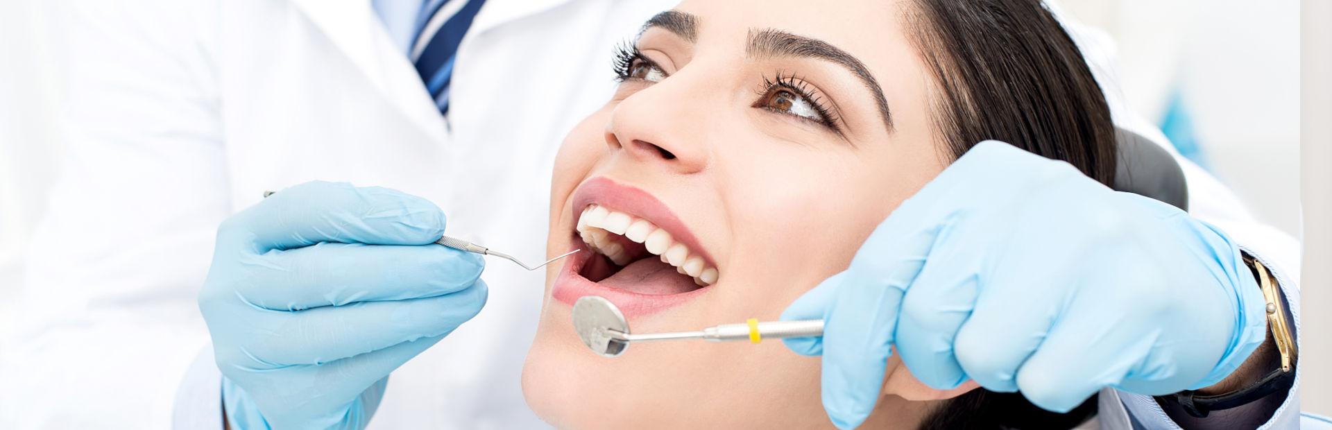 Woman having surgery at the dental