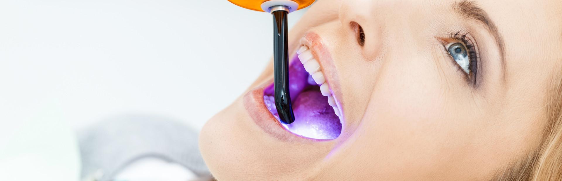 Patient having laser dentistry